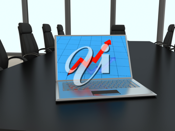 Royalty Free Clipart Image of a Laptop on a Conference Table