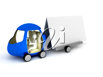 Royalty Free Clipart Image of a Car With a Banner