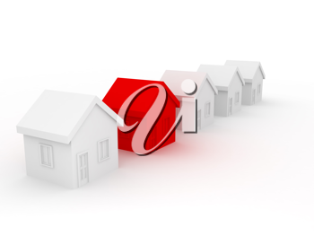 Royalty Free Clipart Image of a Row of Houses