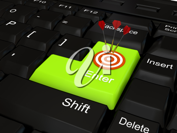 Royalty Free Clipart Image of a Bullseye on a Computer Keyboard