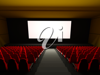 Royalty Free Clipart Image of a Movie Theater