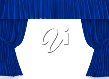 Royalty Free Clipart Image of Blue Curtains