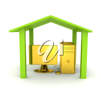 Royalty Free Clipart Image of a Computer Under a Roof