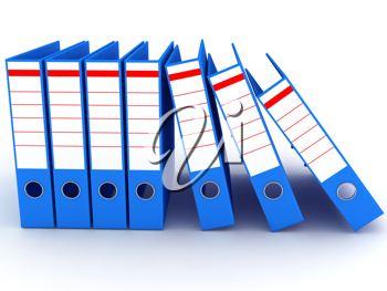 Royalty Free Clipart Image of Blue Binders