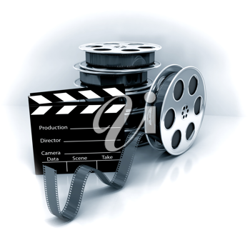 Royalty Free Clipart Image of Stacks of Film Reels