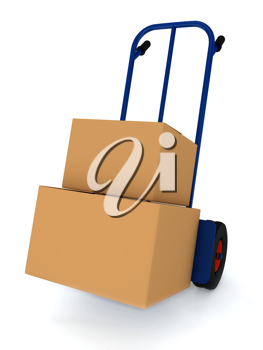 Royalty Free Clipart Image of Boxes on a Cart