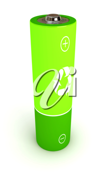 Royalty Free Clipart Image of a Green Battery