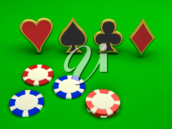 Royalty Free Clipart Image of Casino Chips and Card Suits