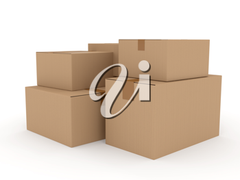 Royalty Free Clipart Image of Cardboard Boxes