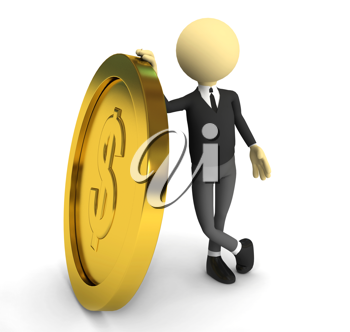 Royalty Free Clipart Image of a Businessman and a Coin