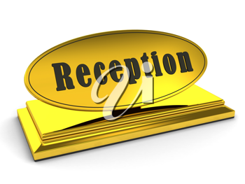 Royalty Free Clipart Image of a Gold Reception Sign