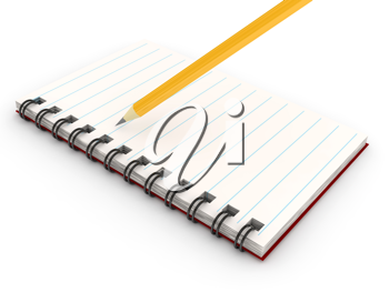 Royalty Free Clipart Image of a Pencil on a Notebook