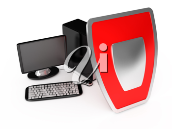 Royalty Free Clipart Image of a Computer Protection Concept
