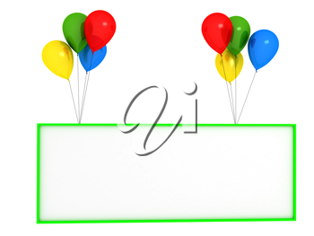 Royalty Free Clipart Image of Balloons and a Banner