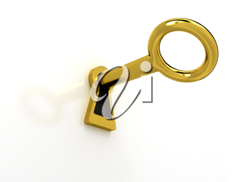 Royalty Free Clipart Image of a Key in a Lock