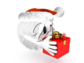 Royalty Free Clipart Image of a Character With a Present