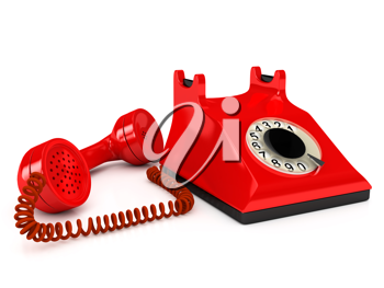 Royalty Free Clipart Image of a Red Telephone