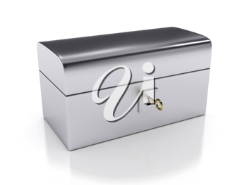 Royalty Free Clipart Image of a Steel Box and Key