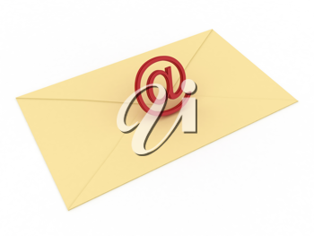 Royalty Free Clipart Image of an Email Sign in an Envelope