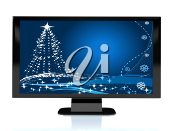Royalty Free Clipart Image of a Television With a Christmas Screen
