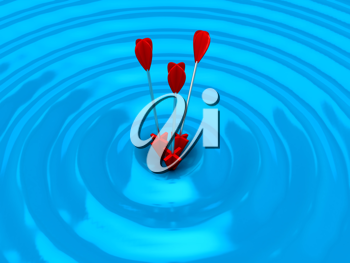 Royalty Free Clipart Image of Arrows on a Target
