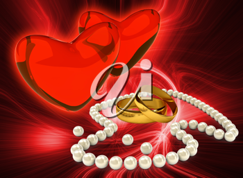 Royalty Free Clipart Image of Pearl Necklace and Wedding Rings