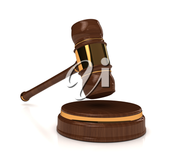 Rendered 3d wooden gavel on white. computer generated image
