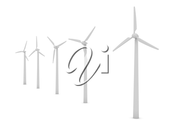 Wind turbines over white background. computer generated image