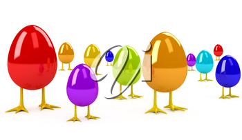 Egg over white background. 3d rendered image