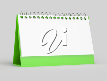 3d render of blank calendar on grey background. computer generated