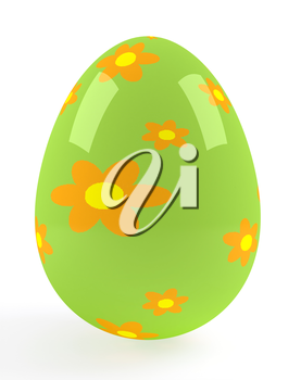 One big green easter egg. Vector image.