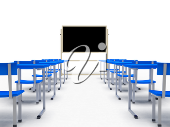 Audience with desks over white background. computer generated image