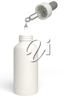 A bottle of nose drops on a white background