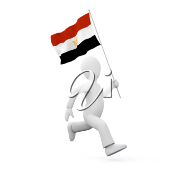 Royalty Free Clipart Image of a Man With Egyptian Flag