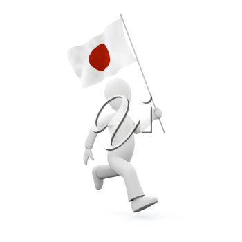 Royalty Free Clipart Image of a Man Running eith the Flag of Japan