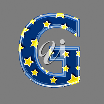3d letter with star pattern - G