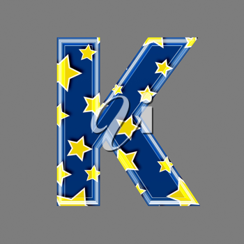 3d letter with star pattern - K