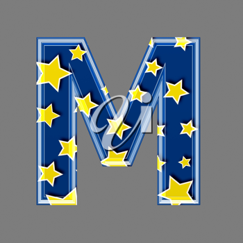 3d letter with star pattern - M