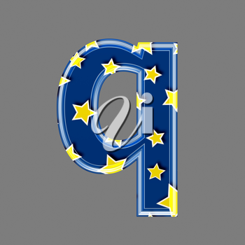 3d letter with star pattern - Q