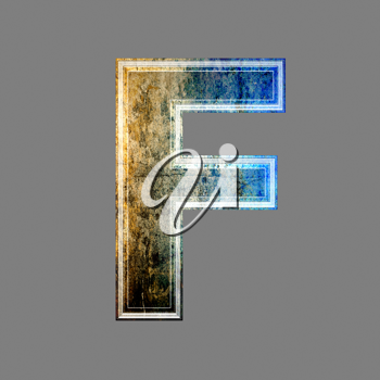 grunge 3d  letter isolated on grey background - F