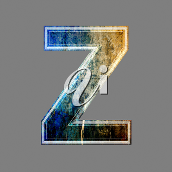 grunge 3d  letter isolated on grey background - Z