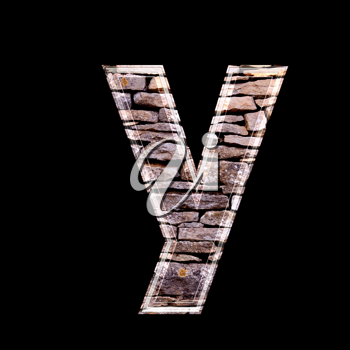 Stone wall 3d letter y