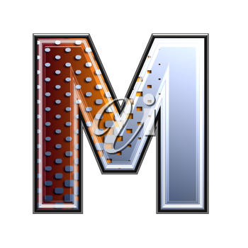 3d letter with abstract texture - m