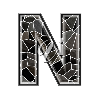 Abstract 3d letter with stone wall texture - N