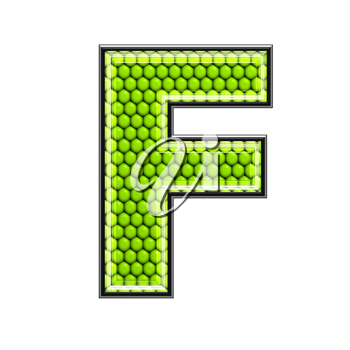 Abstract 3d letter with reptile skin texture - F