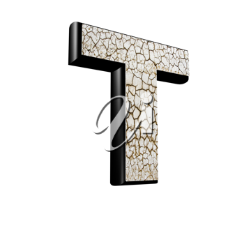 abstract 3d letter with dry ground texture - T