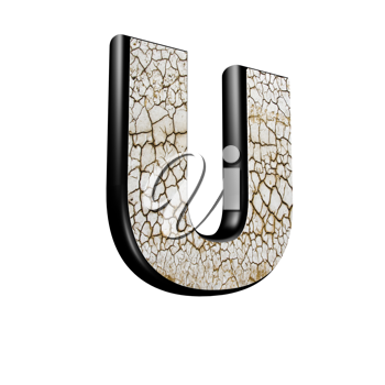 abstract 3d letter with dry ground texture - U