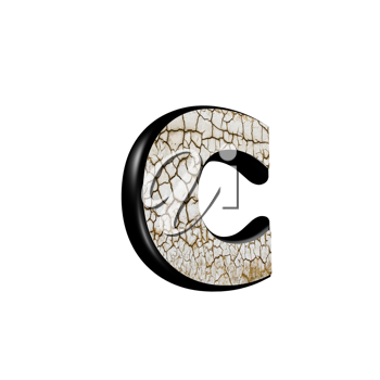 abstract 3d letter with dry ground texture - C