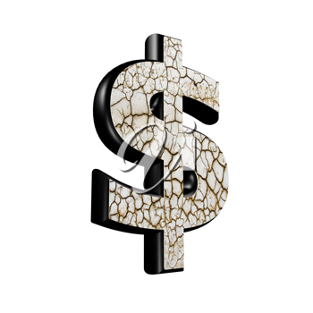 abstract 3d currency sign with dry ground texture - dollar currency sign