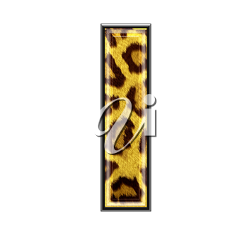 3d letter with panther skin texture - L